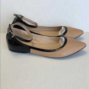 Nude Leather Flats Pointy Toe w/ Black Ankle Strap